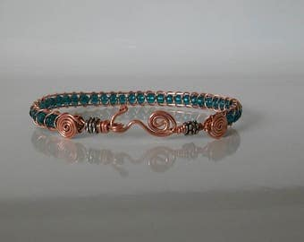Spiral snake wrap copper wire bracelet