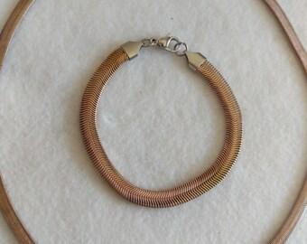 Bronze Tone Chain Necklace and Bracelet Set