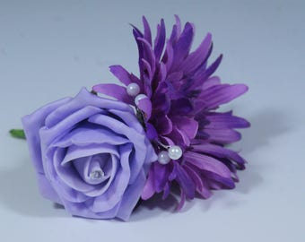 Ice Lilac Rose with Purple Gerbera Buttonhole - Single, 5, 20, 50, 100 Packs Available