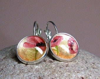 POPPIES earrings, hand-painted