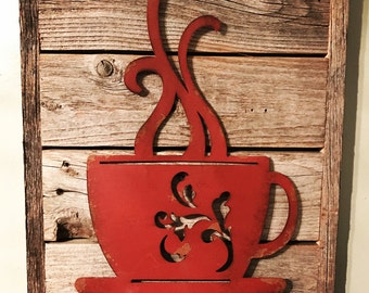 Rustic Coffee Cup, Coffee Decor, Rustic Kitchen Decor, Coffee Shop, Rustic  Home Part 92