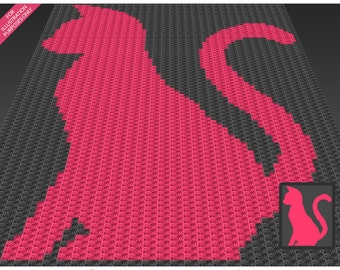 Cat Silhouette crochet blanket pattern; c2c, cross stitch; knitting; graph; pdf download; no written counts or row-by-row instructions