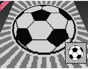Soccer Ball crochet blanket pattern; c2c, cross stitch; knitting; graph; pdf download; no written counts or row-by-row instructions