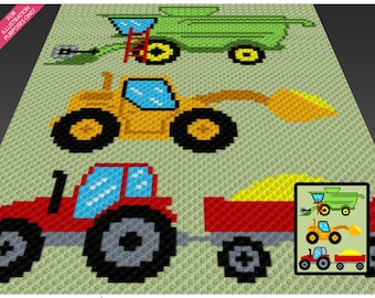 Farm Vehicles crochet blanket pattern; c2c, cross stitch; knitting; graph; pdf download; no written counts or row-by-row instructions