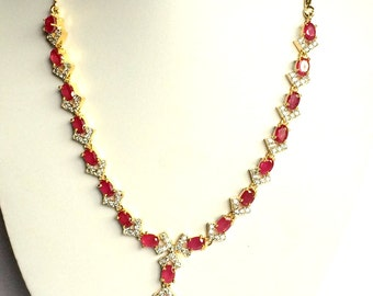 Beautiful AD/ CZ Ruby Stone Fashion Necklace with Earrings