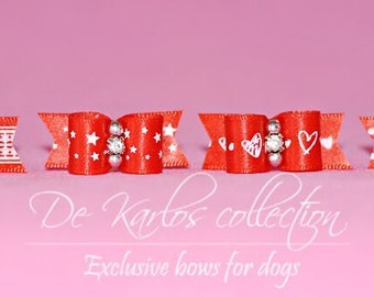 Set red bows for dog 1037