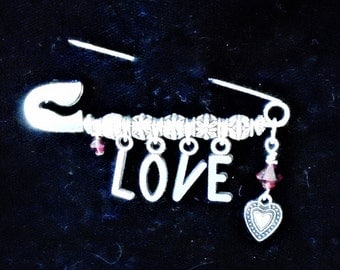 LOVE Safety Pin Brooch With Etched Silver Tone Heart and Red Swarovski Crystal Dangle Valentines Jewelry