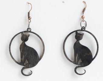 Sitting cat earrings  - Cat lovers Woodcut earrings Hippie Boho Style