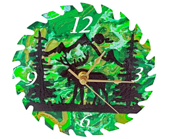 Northern Lights Moose Silhouette Saw Blade Wall Clock