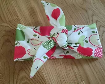 Apple headband, apple baby, apple girl, headband with bow,