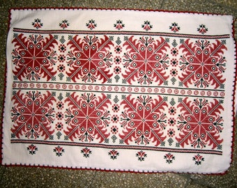 Vintage Kalotaszeg Hand Embroidered Table Runner / Handwoven Hemp fabric / Hand embroidered Flowers pattern