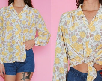 Yellow and Taupe Floral Long Sleeve Blouse S/M