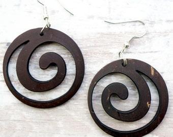 Swirl Natural Wood Earrings