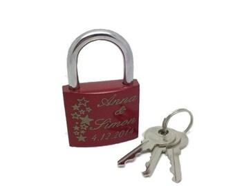 Love lock with engraved lock laser padlock bridge Castle star