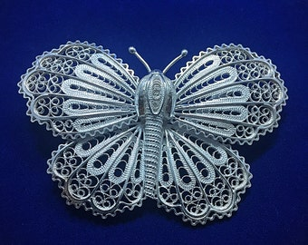 Handmade High Quality Butterfly Brooch Sterling Silver Filigree made in Macedonia