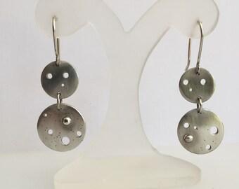 Sterling Silver drilled disc drop earrings