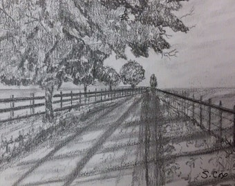 Graphite sketch, pencil drawing, black and white art, Original landscape drawing of trees and country scene, pencil art