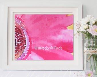 Watercolor flower print, Original floral painting, Modern artwork, pink flower, Fine art print, Nursery art, Contemporary art, cheerful