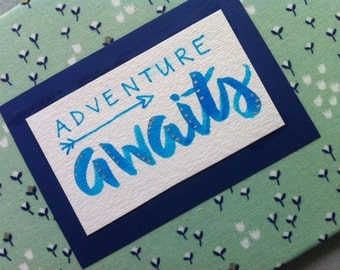 Adventure Awaits, Fabric Signs, Wall Art, Nursery Decor, New Baby Gift, It's A Boy, Cloth Sign, Hand Crafted, Hand Lettered, Hand Made