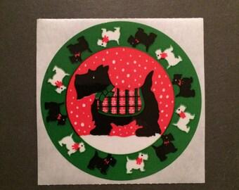 Sandylion vintage 1989 very rare kromekote/paper round sticker with scotty dogs