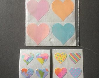 Sandylion vintage very rare 80s shiny heart stickers