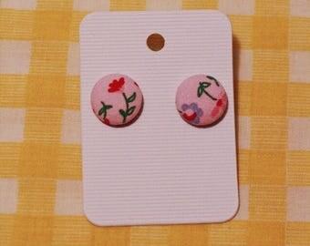 Cutesy pink flower print- stud earrings