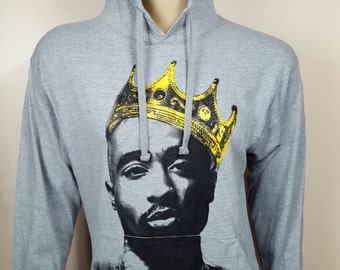 Tupac King Lightweight Gray Jersey Pullover