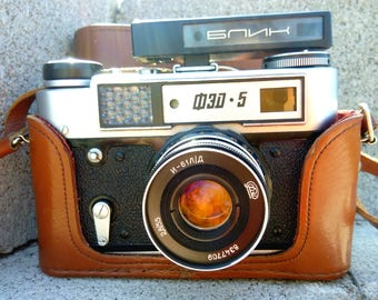 Rare photo camera FED - 5 made in Soviet Union. Electronics retro. Vintage Russian antiques. In great condition. Collectible items USSR