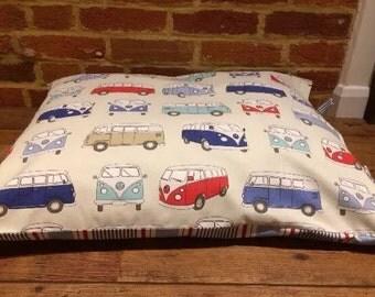 Dog bed cover Campervan/Stripe Reversible tie side