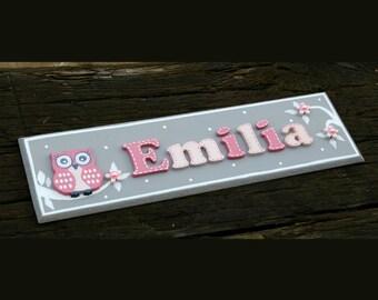 Pretty OWL PERSONALISED Name Plaque Door Sign Girl Baby Room Nursery