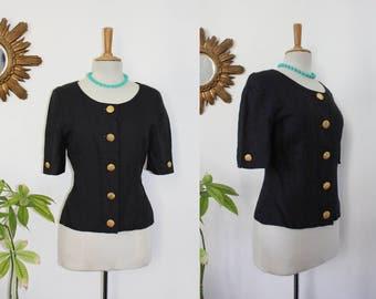 Ricci, little jacket, black blazer, short of the designer Nina Ricci, Edition Paris, Vintage, short sleeves, en 40, L, UK 12, USA 8 store