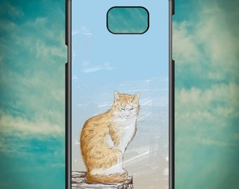 Orange Cat Illustration for Samsung Galaxy Note 3, Samsung Galaxy Note 4, Samsung Galaxy Note 5, Electronic Phone Case