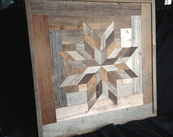 "Barn wood quilt square (18"").  Log cabin 8-point star"