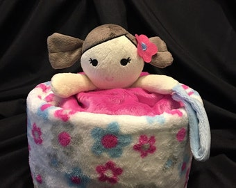 Doll Diaper Cake Gift With Plush Baby Blanket And A Security Blanket