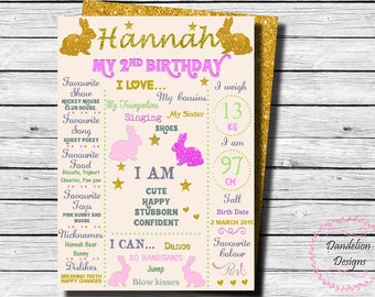 Bunny First Birthday chalkboard, Bunny 1st Birthday Sign, Pink Gold Bunny Birthday, Bunny Birthday Party, Bunny Party Sign, Glitter poster