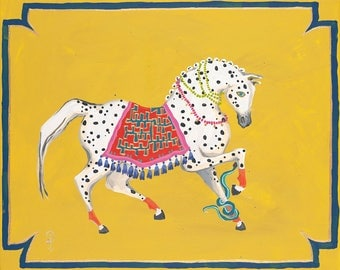 Spotted Arabian on acid yellow by Paige Gemmel