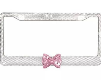 License Plate Frame Bling, Crystal Car Accessories for Women, Vehicle Accessories, Auto Accessories, Bow Rhinestone Car Decorations Decal