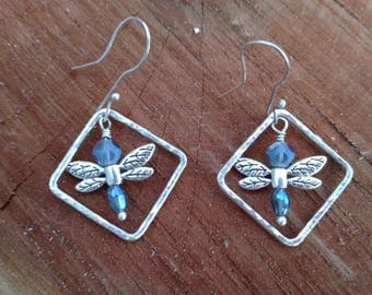 Argentium Silver Drangonfly Drop Earrings - Ear Wires
