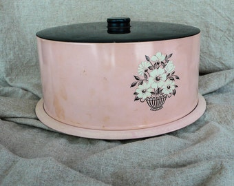 Mid Century Cake Plate Keeper Pink and Black