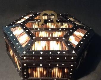 Antique Porcupine Quill Box