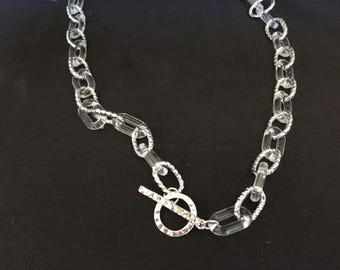 Feather Lite Lucite Necklace, Clear Acrylic interspersed with brilliant silver Lucite Links  18 in