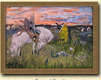 Russian Painting,Knight at the crossroads- Viktor Vasnetsov,Acrylic Reproduction handmade,Russian Art,FREE SHIPPING!