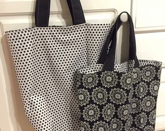 Reusable, reversible, washable grocery tote