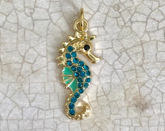 Rhinestone Seahorse Charm, Gold Toned, Sea Animal, Sea Creature, Animal Charm, Ocean Life, Nickel Free, Lead Free