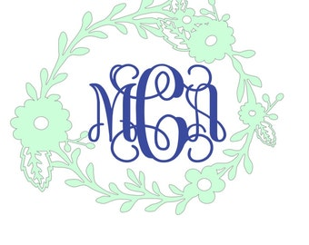 Monogram decal with flower wreath