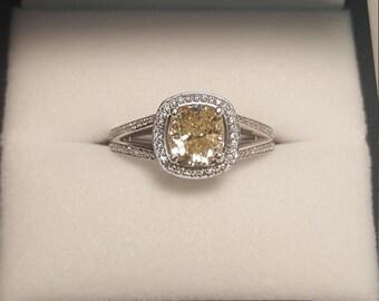 "14kw 1.16ct ""Canary"" Diamond Ring"