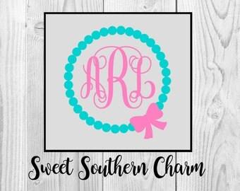 monogram svg file - circle svg file - circle pearl with bow svg - svg file - svg files - pearl svg file - pearls svg - bow svg file - files