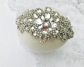 Fancy bride statement headband, bridal couture headband, diamond bridal headband, bridal statement headpiece, bridal statement accessory,