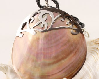 Large Mother of Pearl Pendant with Bali Sterling Silver, Multi tonal shell pendant, Multishade shell pendant Handmade pendant - 7 m x 7.5 cm
