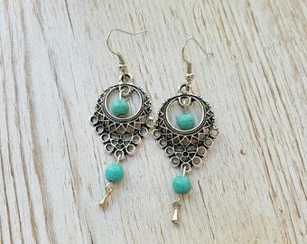 Bohemian earrings turquoise beads